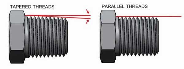 taper straight thread